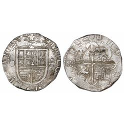 Seville, Spain, cob 8 reales, Philip II, assayer Gothic D at 4 o'clock outside tressure on reverse.