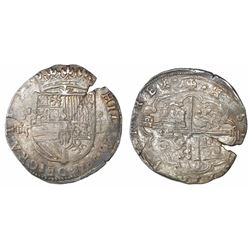 Segovia, Spain, cob 4 reales, Philip II, assayer oD to right, mintmark above denomination o-iiii to