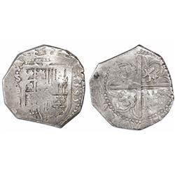 Seville, Spain, cob 4 reales, 1595 date to right, assayer B below mintmark S and denomination o-IIII