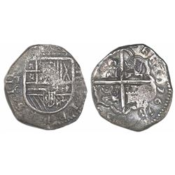 Toledo, Spain, cob 4 reales, 1611/0C, rare (unlisted), rotated reverse legend.