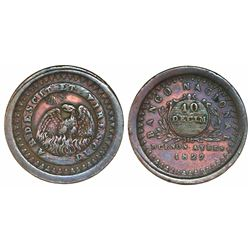 Buenos Aires, Argentina (National Bank), copper 10 decimos, 1827.