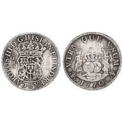 Potosi, Bolivia, pillar 4 reales, Charles III, 1770JR.