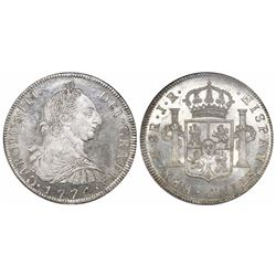 Potosi, Bolivia, bust 8 reales, Charles III, 1774JR, encapsulated NGC MS 63.