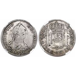 Potosi, Bolivia, bust 4 reales, Charles III, 1778JR, NEX instead of REX in legend, very rare, encaps