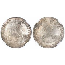 Potosi, Bolivia, 8 soles, 1837LM, encapsulated NGC AU 58.