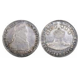 Potosi, Bolivia, 8 soles, 1837LM.
