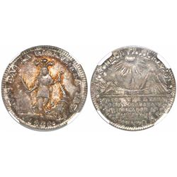 Potosi, Bolivia, 2 soles-sized silver proclamation medal, 1838, Socabaya, encapsulated NGC MS 64, fi