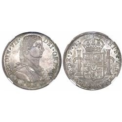 "Santiago, Chile, bust 8 reales, Ferdinand VII transitional (""admiral"" bust), 1809FJ, rare, encapsula"