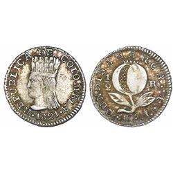 Bogota, Colombia (Cundinamarca), 1/2 real, 1821JF, Cundinamarca, ex-Craig.