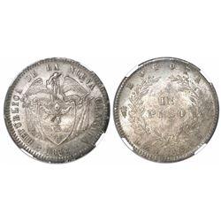 Bogota, Colombia, 1 peso, 1858, encapsulated NGC MS 63.