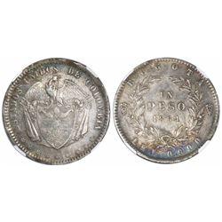 Bogota, Colombia, 1 peso, 1864, encapsulated NGC AU 50.