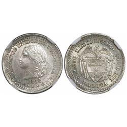 Bogota, Colombia, 1/2 decimo, 1868, encapsulated NGC MS 63.