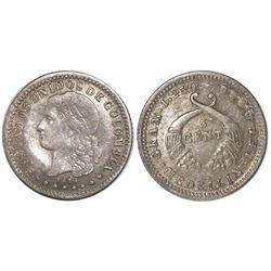 Medellin, Colombia, 5 centavos, 1875, fineness 0.666 / 0.835, rare, ex-Whittier.