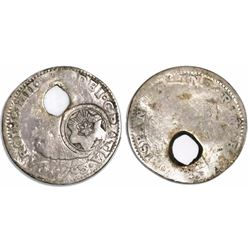 Costa Rica (State), 1/2 real, radiate-star-in-circle countermark (Type I, 1841-2), holed with plug r