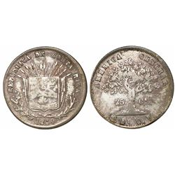 Costa Rica, 25 centavos, 1864GW, small denomination.