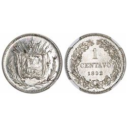 "Costa Rica, piefort copper-nickel pattern 1 centavo (""1 CENTAVO""), 1892, rare, encapsulated NGC MS 6"