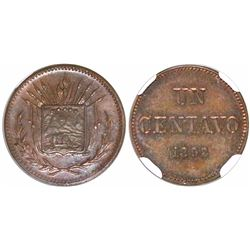 "Costa Rica, piefort copper pattern 1 centavo (""UN CENTAVO""), 1892, rare, encapsulated NGC MS 64 BN,"