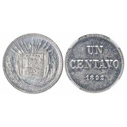 "Costa Rica, piefort aluminum 1 centavo (""UN CENTAVO""), 1892, rare, encapsulated NGC MS 61, ex-Richar"