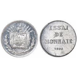 Costa Rica, aluminum essai 1 centavo, 1892, rare, encapsulated NGC MS 63, finest and only specimen i