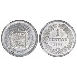 Costa Rica, aluminum pattern 1 centavo ( 1 CENTAVO ), 1892, rare, encapsulated NGC MS 61, finest and