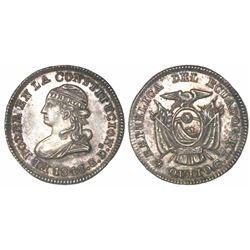 Quito, Ecuador, 1/2 real, 1848GJ.