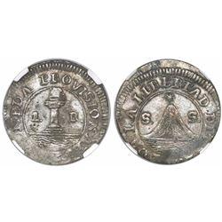"""San Salvador, El Salvador, 1 real, 1835, """"POR LA LIBERTAD DEL SAL,"""" encapsulated NGC XF 40, ex-Richa"""