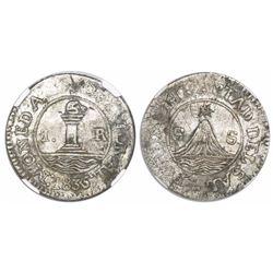 """San Salvador, El Salvador, 1 real, 1835, """"POR LA LIBERTAD DEL SAL,"""" encapsulated NGC XF 45, ex-Richa"""
