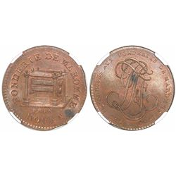 Rouen, France, Foundry of Maromme, bronze essai 12 deniers, 1790, encapsulated NGC MS 63 BN.