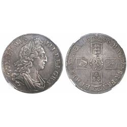Great Britain (London, England), crown, William III (third bust), 1696, OCTAVO on edge, encapsulated
