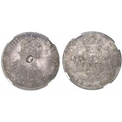 Great Britain, 1 dollar, oval George III countermark (1797-99) on a Potosi, Bolivia, bust 8 reales,