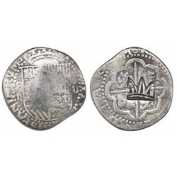"Guatemala, ""moclon"" 2 reales, rare Type-C crown countermark (1662) on cross side of a Lima, Peru, co"