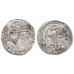 "Guatemala, ""moclon"" 2 reales, crown countermark (1662) on a shield side of a Lima, Peru, cob 2 reale"