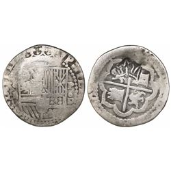 "Guatemala, ""moclon"" 2 reales, crown countermark (1662) on cross side of a Lima, Peru, cob 2 reales o"