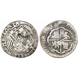 "Guatemala, ""moclon"" 2 reales, crown countermark (1662) on shield side of a Lima, Peru, cob 2 reales"