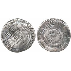 "Guatemala, ""moclon"" 2 reales, with crown countermark (1662) on cross side of a Potosi, Bolivia, cob"