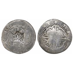 "Guatemala, ""moclon"" 2 reales, with crown countermark (1662) on shield side of a Potosi, Bolivia, cob"