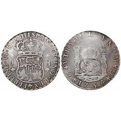 Guatemala, pillar 8 reales, Ferdinand VI, 1754J, Spanish 5, ex-Richard Stuart.