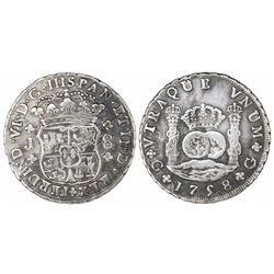 Guatemala, pillar 8 reales, Ferdinand VI, 1758/7J, rare, ex-Richard Stuart.