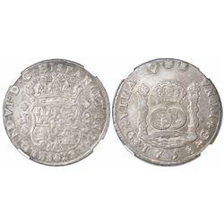 Guatemala, pillar 8 reales, Ferdinand VI, 1758J, encapsulated NGC XF 45, ex-Richard Stuart (designat