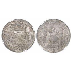 Guatemala, pillar 8 reales, Charles III, 1765P, encapsulated NGC AU 50.
