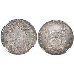 Guatemala, pillar 8 reales, Charles III, 1771P, encapsulated NGC XF 45.