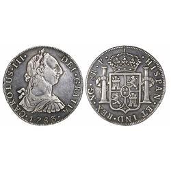 Guatemala, bust 8 reales, Charles III, 1783P, rare, ex-Richard Stuart.