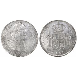 Guatemala, bust 8 reales, Charles IV, 1793M, ex-Richard Stuart.