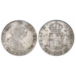Guatemala, bust 8 reales, Charles IV, 1800M, encapsulated PCGS AU 53.