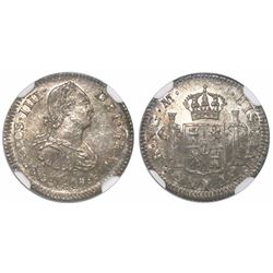Guatemala, bust 1/2 real, Charles IV, 1807M, encapsulated NGC MS 64, ex-Richard Stuart (designated o