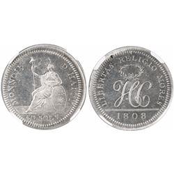 Haiti (struck in Birmingham, England), 30 sols silver pattern, Henri Christophe, 1808, rare, encapsu