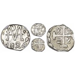 """Tegucigalpa, Honduras, provisional """"imitation cob"""" 1/2 real, 1824, four-digit date, very rare, encap"""