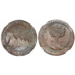 "Tegucigalpa, Honduras, copper/lead 8 reales, 1858FL, ""HOND"" variety, encapsulated NGC VF 25 BN, ex-R"