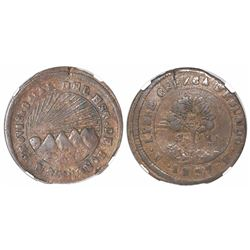 Tegucigalpa, Honduras, copper 4 reales, 1857FL, broad date variety, encapsulated NGC VF 35 BN, ex-Ri