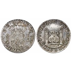 Mexico City, Mexico, pillar 8 reales, Philip V, 1733MF, small crown.